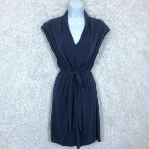 Popover Shirt Dress Tie Waist Blue Forever 21
